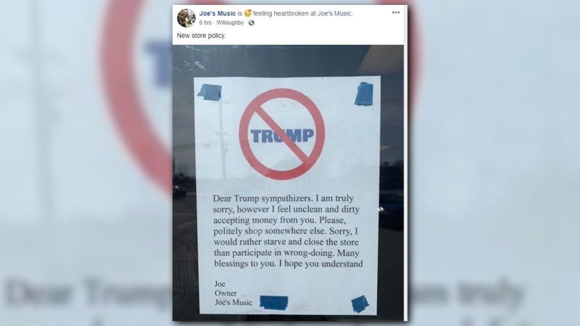 Willoughby music shop posts sign telling Trump sympathizers to shop elsewhere