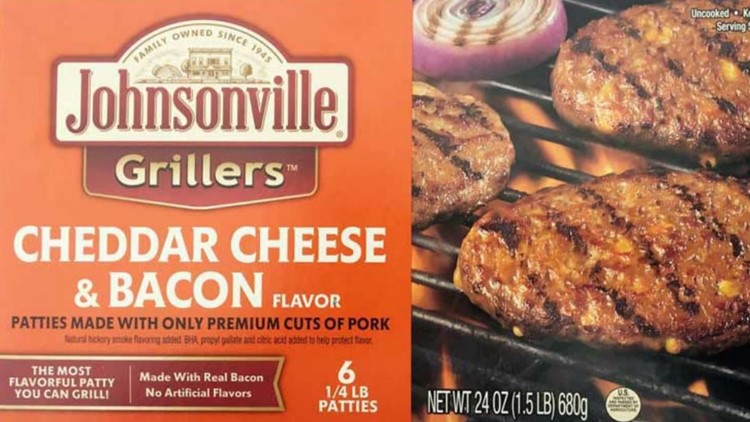 Johnsonville recalls frozen cheddar and bacon pork patties after rubber found in products