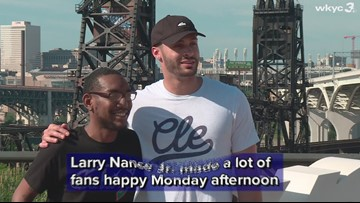 Cleveland Cavaliers forward Larry Nance Jr. signed autographs for fans at the 'Cleveland' sign in Tremont