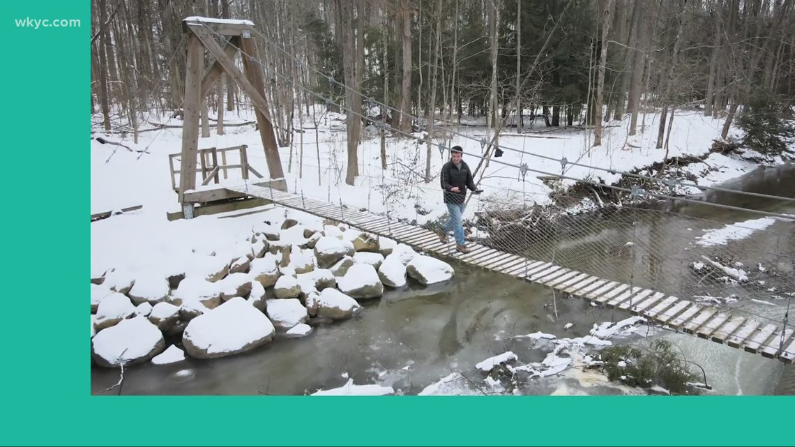 GO-HIO: Crossing the suspension bridge at Lake County's Girdled Road Reservation