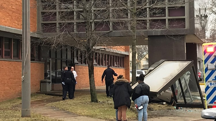 Truck hits Cleveland police station 2
