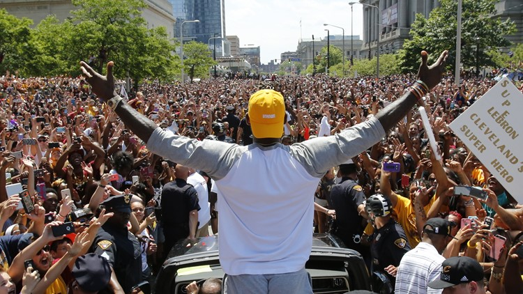 LeBron James at Cleveland Cavaliers NBA victory parade June 2016
