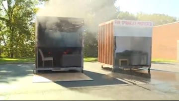 WATCH | Firefighters burn dual rooms in Valley View to show importance of sprinklers
