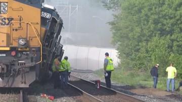 Train derailment topples 22 railcars in Wellington | wkyc com