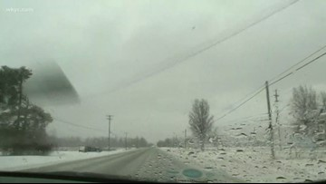 Checking road conditions in Grafton as weekend winter storm continues