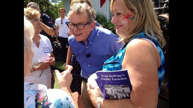 Republican Attorney General Mike DeWine greets supporters at his home in Cedarville, Ohio, on Sunday after announcing he is running for governor.