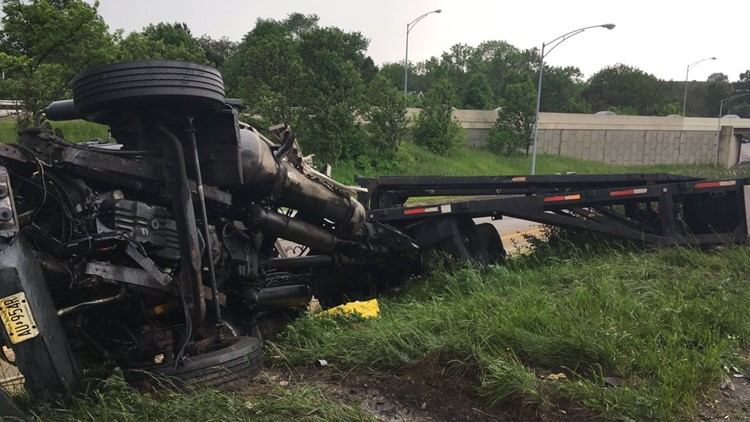 Portion of I-76 east reopens after semi-truck turns over