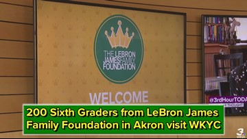 "Some 200 sixth graders from the LeBron James Family Foundation in Akron got to see what putting a newscast together is all about during their ""Anchor for a Day"" field trip."