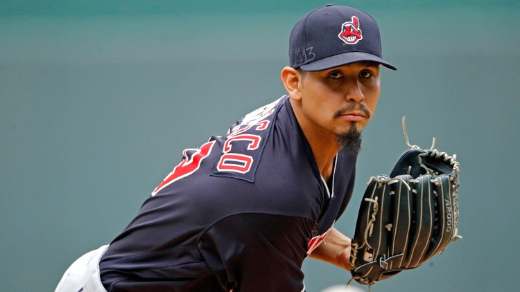 Cleveland Indians SP Carlos Carrasco throws against Kansas City Royals 2