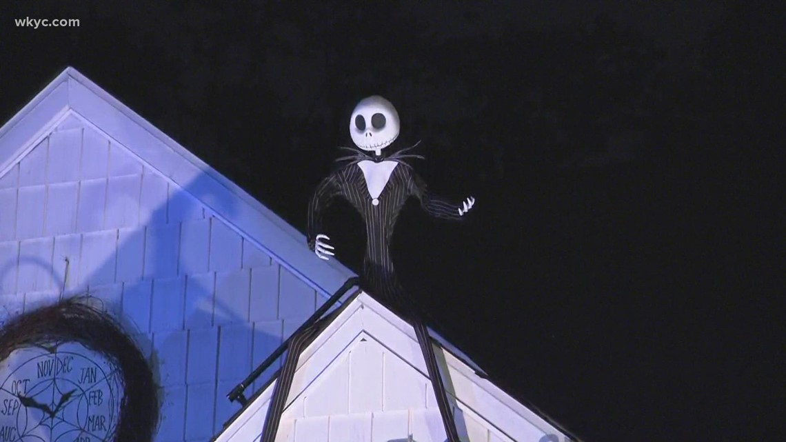 Cuyahoga Falls home decorates for Halloween with Nightmare Before Christmas theme