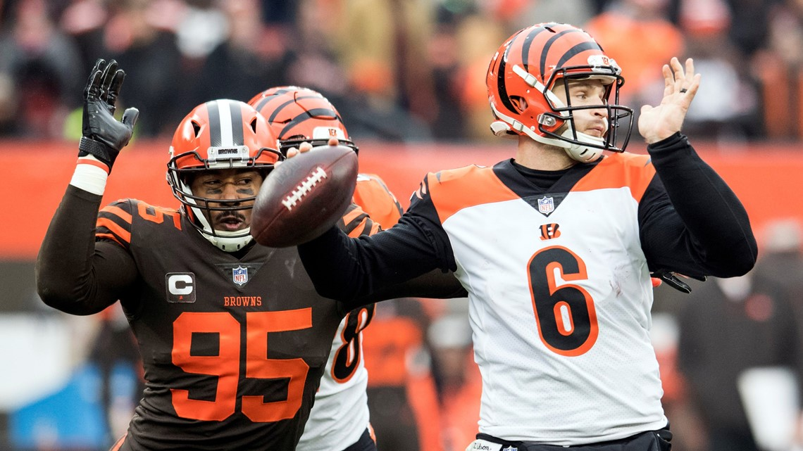... Jeff Driskel (6) throws a pass as Cleveland Browns defensive end Myles  Garrett (95) rushes during the first half at FirstEnergy Stadium in  Cleveland. 07bf2fdab