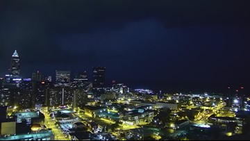 Storms roll through downtown Cleveland on September 13, 2019