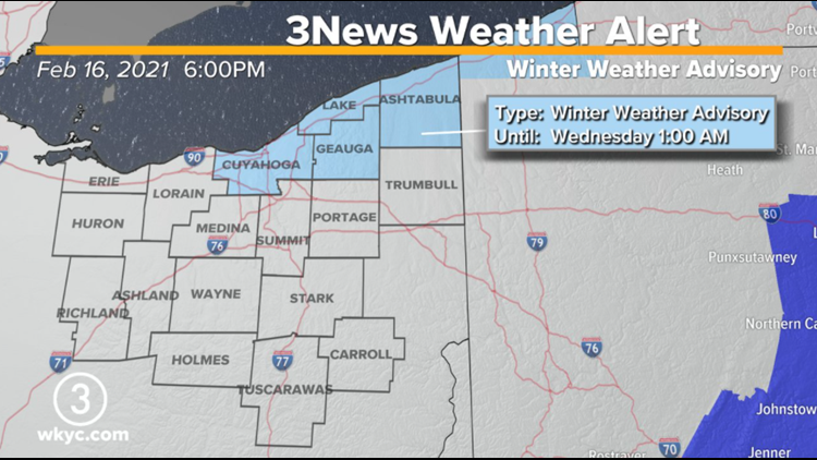 Winter Weather Advisory issued for Cuyahoga, Lake, Geauga, and Ashtabula counties