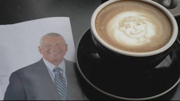 Fresh Brewed Coffee latte artist creates Russ Mitchell, Sara Shookman lattes