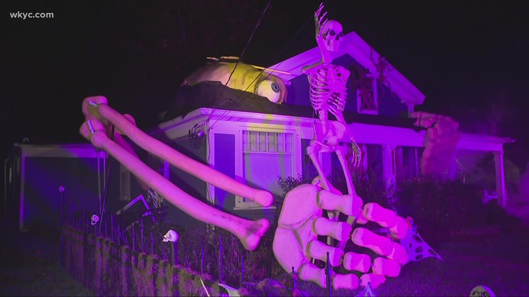 Olmsted Falls resident gets national attention for epic skeleton-themed Halloween display