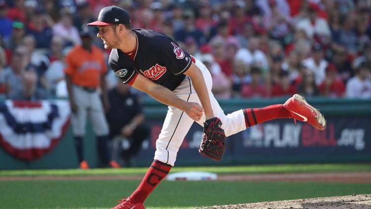 Cleveland Indians SP Trevor Bauer delivers against Houston Astros