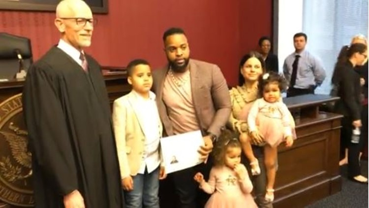 Carlos Santana with family as he becomes U.S. citizen April 19, 2019