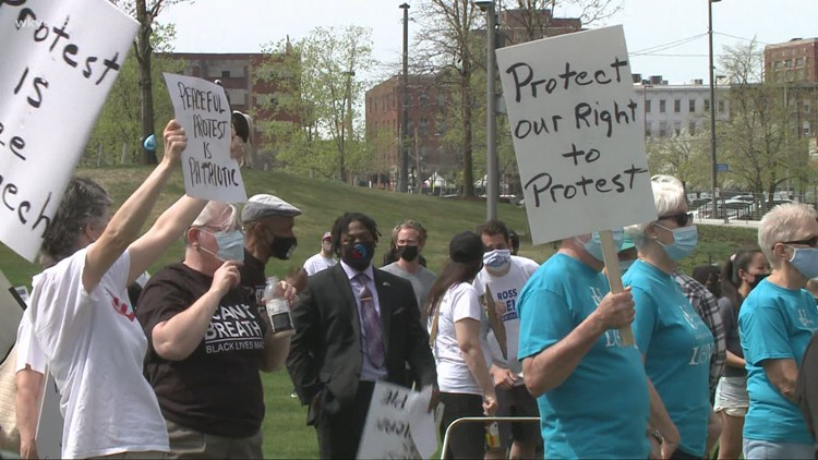 Activists gather in Cleveland to speak out against alleged anti-protest legislation