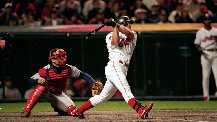 Cleveland Indians slugger Jim Thome belts a home run over the wall at Jacobs Field in the first inning of Game 5 of the 1999 American League Division Series.