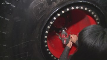 Here's how you change a monster truck tire