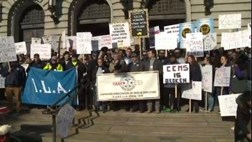 Cleveland EMS workers march on City Hall