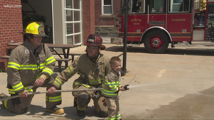 4-year-old Chardon boy battling cancer saves a superhero and becomes firefighter for a day