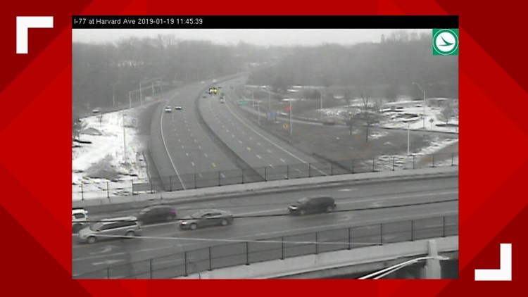 Road conditions on I-77 at Harvard Avenue snow storm January 19, 2018