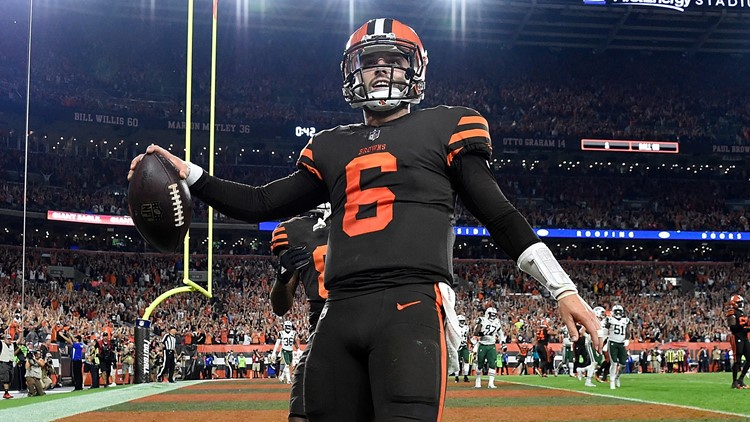 Cleveland Browns QB Baker Mayfield celebrates TPC vs. New York Jets