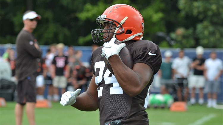 Nick Chubb Cleveland Browns joint practice with Indianapolis Colts August 14, 2019