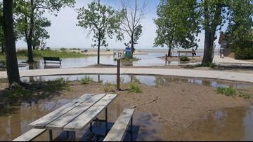 Mentor Headlands Beach under water, parking lot closed
