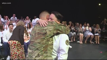 Local soldier surprises his college graduate mother at nursing ceremony