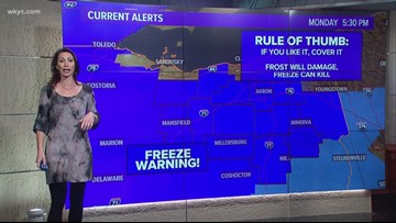 Freeze warning in effect for several counties in Northeast Ohio