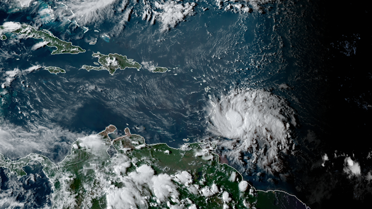 Tropical Storm Dorian at 5 pm on August 26, 2019