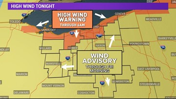 High winds could gust to 60 mph across northeast Ohio tonight