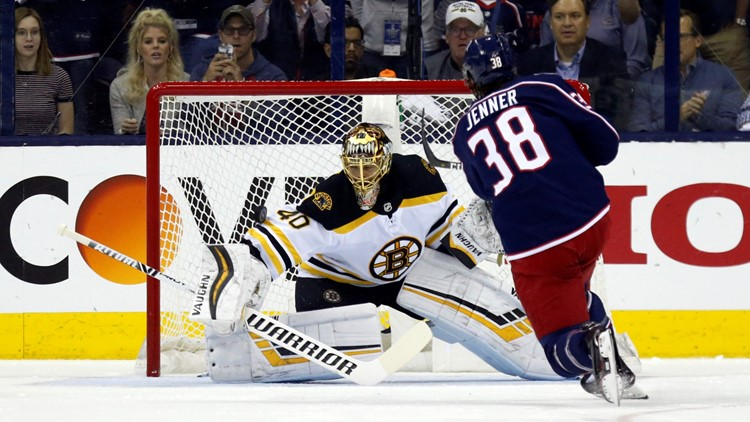 Tuukka Rask Boone Jenner Boston Bruins-Columbus Blue Jackets Hockey