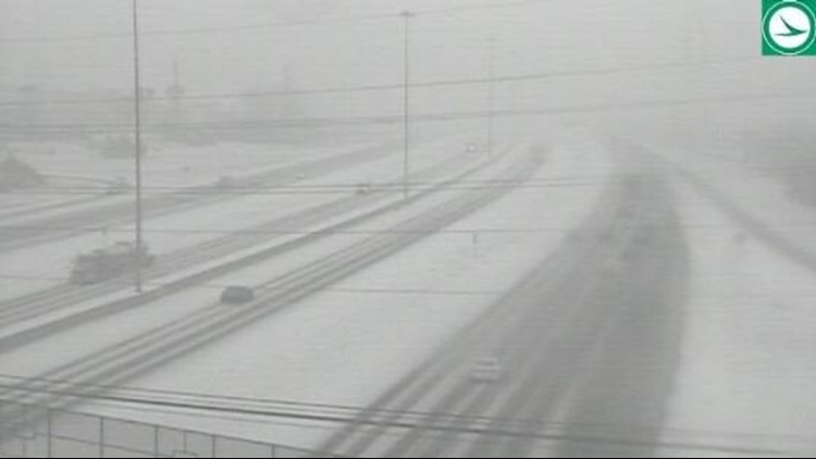 Snowy road conditions I-271 at US 422 February 7, 20202