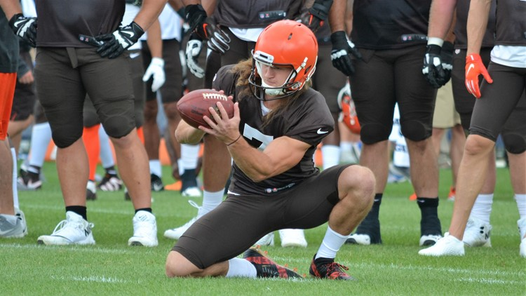 Jamie Gillan Cleveland Browns joint practice with Indianapolis Colts August 14, 2019
