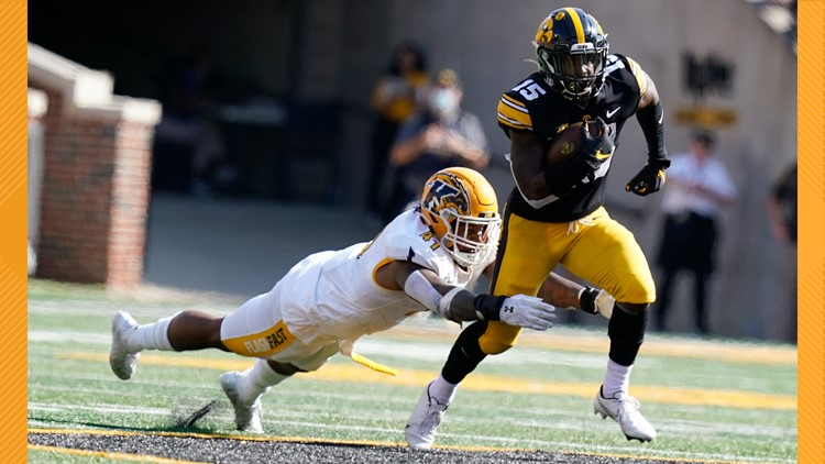 Tyler Goodson runs for 153 yards, 3 TDs as No. 5 Iowa pulls away from Kent State 30-7