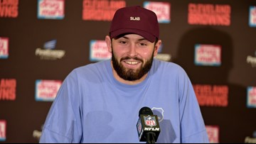 'Riders up!' | Browns QB Baker Mayfield issues call to starting gate prior to 145th Kentucky Derby