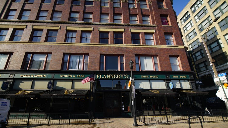The exterior of Flannery's Pub in downtown Cleveland