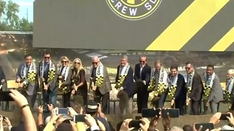 Cleveland Browns owners Jimmy and Dee Haslam take part in groundbreaking of new Columbus Crew SC stadium