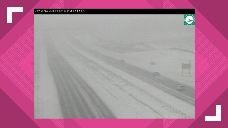 Snowy road conditions I-77 at Graybill Road January 19, 2019