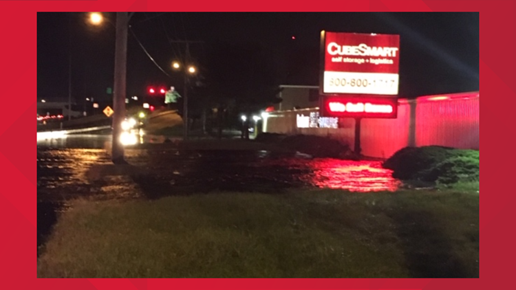 Water Main Break at CubeSmart causes flooding on I-90