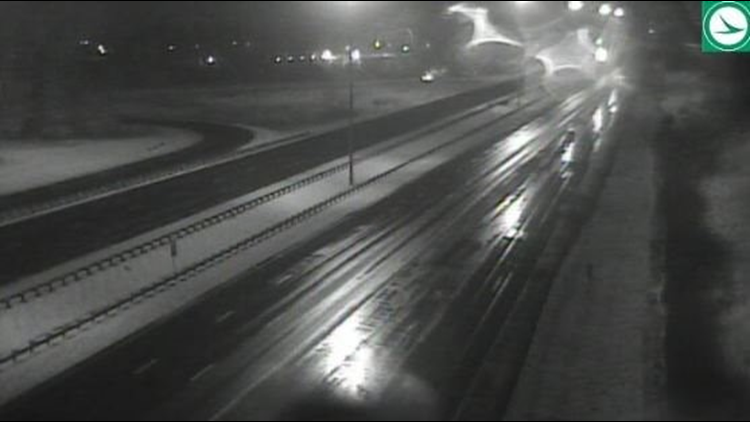 Snowy road conditions I-77 at I-80 February 13, 2020
