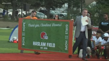 Cleveland Browns owners Dee & Jimmy Haslam dedicate new youth football field in Garfield Heights