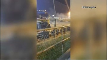 Video: School bus nearly crashes into crowd during race at Indiana speedway
