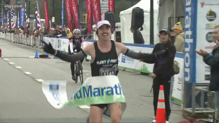 Lakewood's Jeremiah Fitzgerald crosses finish line 1st in 2021 Union Home Mortgage Cleveland Marathon; Ana Maria Villegas wins female race