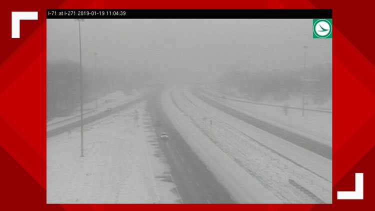 11 a.m. snowy road conditions I-71 and I-271