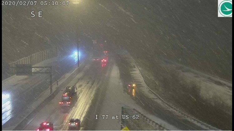 Snowy road conditions 77 at US 62