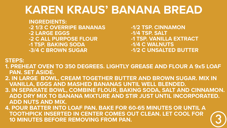 Karen Kraus Secret Recipe for banana bread